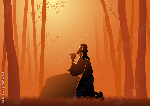Jesus Praying in Gethsemane Canvas Print