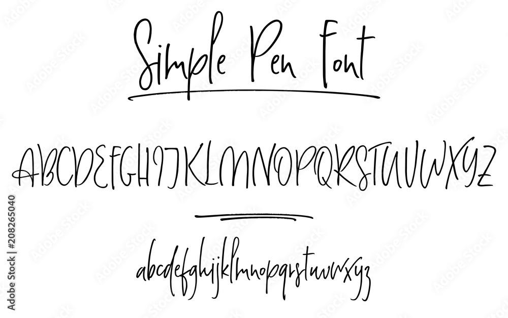 Fototapeta Ballpen lettering vector alphabet. Uppercase and lowercase handwritten letters. Modern calligraphy, vector illustration.