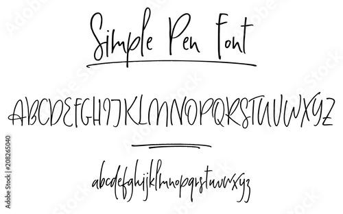 Fotografía  Ballpen lettering vector alphabet