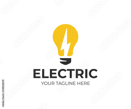 Light bulb and lightning bolt logo template Slika na platnu