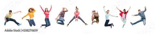 Photo sport, dancing and people concept - group of people or teenagers jumping