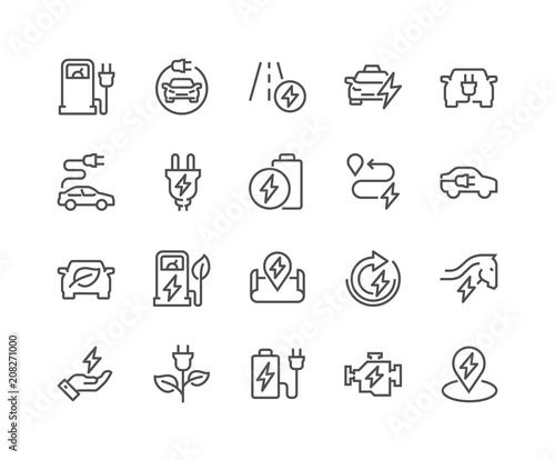 фотография Simple Set of Electro Car Related Vector Line Icons