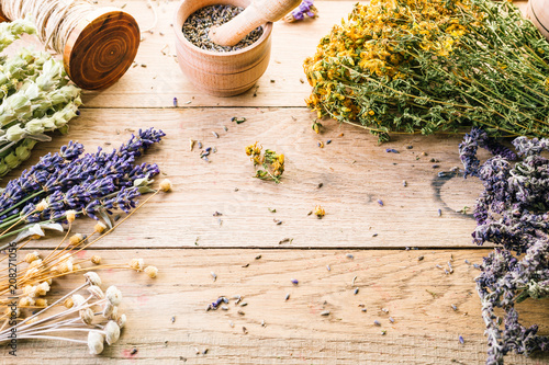 Gathering of Medicinal Wild Herbs Treatment Wooden Background Vintage Rural Coun Canvas Print