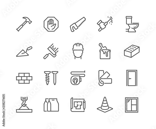 Fotografia, Obraz  Simple Set of Construction Related Vector Line Icons