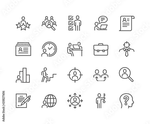Fotografie, Obraz  Simple Set of Head Hunting Related Vector Line Icons