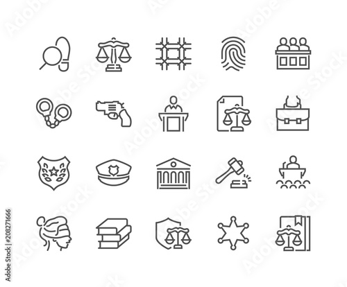 Simple Set of Law and Justice Related Vector Line Icons. Contains such Icons as Themis, Court, Police and more. Editable Stroke. 48x48 Pixel Perfect. Wall mural