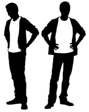Silhouettes Of People Holding Hands On Hips Isolated On White