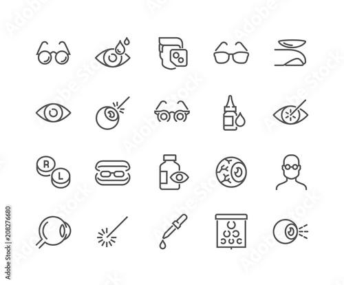 Cuadros en Lienzo  Simple Set of Optometry Related Vector Line Icons