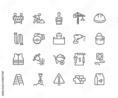 Photographie Simple Set of Construction Related Vector Line Icons