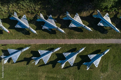 Aerial drone view on military airbase Wallpaper Mural