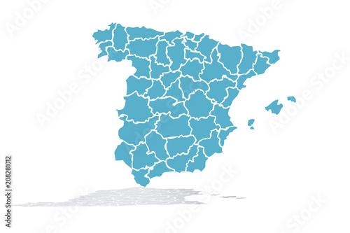 Mapa azul de España. Canvas Print