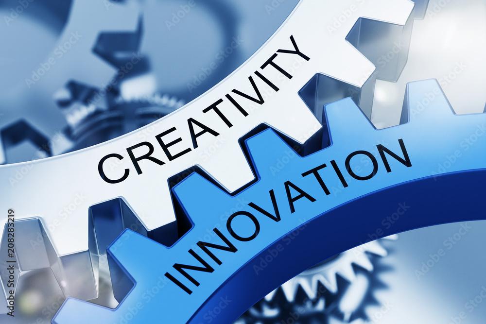 Fototapety, obrazy: Creativity Innovation on Metal Cog Gears.
