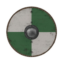 Medieval Round Viking Wooden Shield On White. 3D Illustration