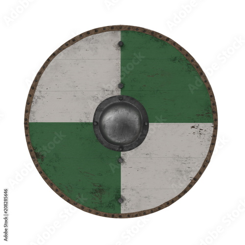 Medieval Round Viking Wooden Shield on white. 3D illustration Canvas Print