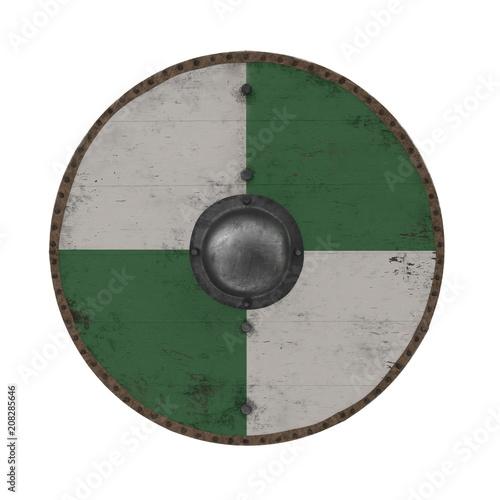 Photo Medieval Round Viking Wooden Shield on white. 3D illustration