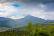 Mountain landscape, in the background - Ukrainian mountain Khomyak in the clouds.