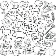 Farm Animals Agriculture Doodl...