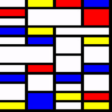 Geometric Material Design In Primary Colours, With Three Dimensional Layered Effect. Mondrian Style.