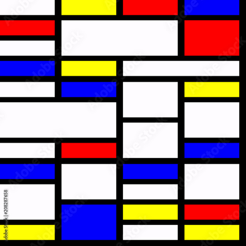 Photo  Geometric material design in primary colours, with three dimensional layered effect