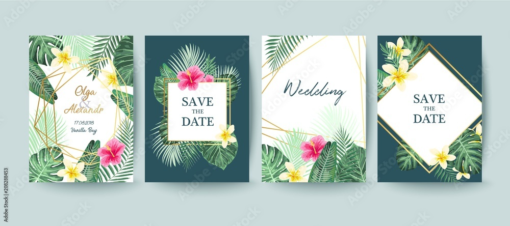 Fototapeta Summer card design. Save the date. Exotic tropic palm leaves and flowers. Invitation, poster, cover template. Geometric and floral frame.