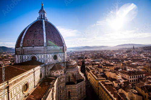 Obraz na plátně  Duomo in Florence from tower with bright sky