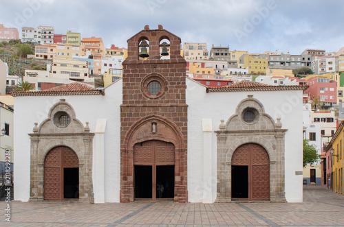 Deurstickers Canarische Eilanden Church la iglesia de la Asuncion in San Sebastian de la Gomera