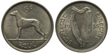 Ireland Irish Coin 6 Six Pence...