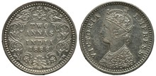 British India Silver Coin 2 Tw...