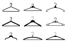 Different Clothes Hanger Silhouette Collection. Vector