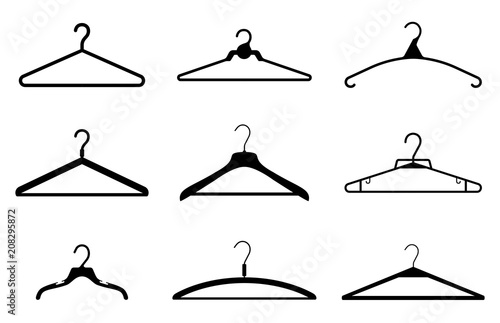 Obraz Different clothes hanger silhouette collection. Vector - fototapety do salonu