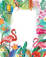 FototapetaBorder with Flamingoes and tropical plants