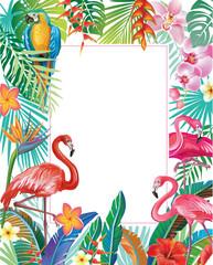 Naklejka Egzotyczne Border with Flamingoes and tropical plants
