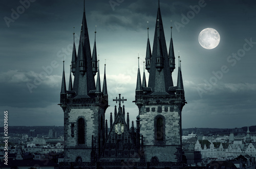 Amazing Night in Prague Moon over Tyn Church and the City