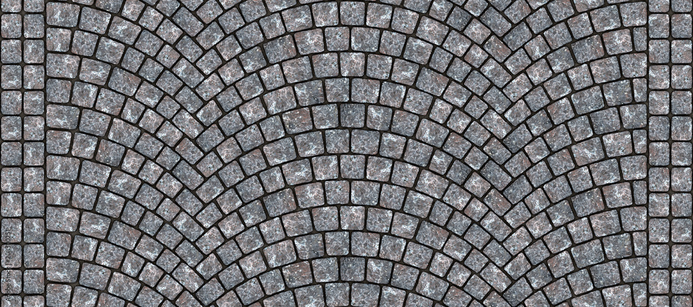 Fototapety, obrazy: Road curved cobblestone texture 006