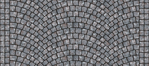 Photo Road curved cobblestone texture 006