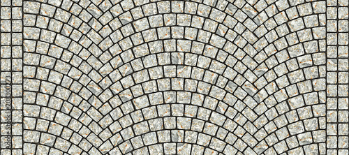 Fotomural Road curved cobblestone texture 013