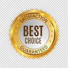 Best Choice Golden Shiny Label Sign. Vector Illustration