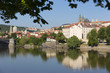 Spring Prague gothic Castle with the Lesser Town above River Vltava in the sunny Day, Czech Republic