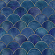 Leinwanddruck Bild - Mermaid fish scale wave japanese seamless pattern
