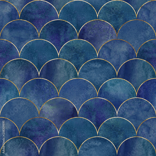 Fototapeta Mermaid fish scale wave japanese seamless pattern