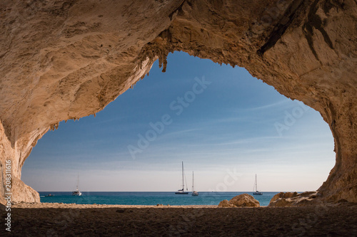 Photo  Inside a cave at Cala Luna beach