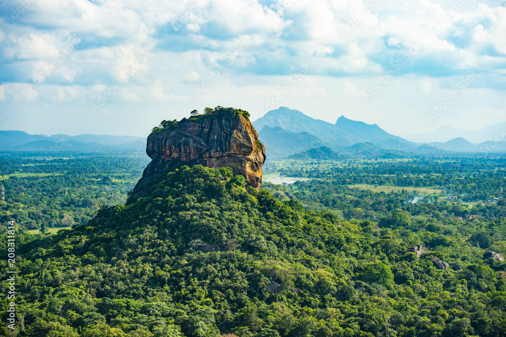 Fototapety, obrazy: Spectacular view of the Lion rock surrounded by green rich vegetation. Picture taken from Pidurangala Rock in Sigiriya, Sri Lanka.