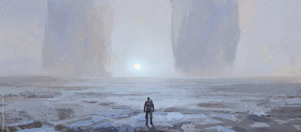 Alien landform, digital painting.