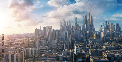 Photo Stands Blue jeans 3D rendering futuristic concept city landscape skyline .