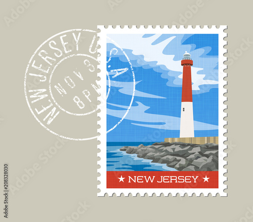 New Jersey Postage Stamp Design Vector Illustration Of Historic Lighthouse On The Atlantic Coast