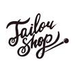 Tailor shop promo black logotype with sharp pin
