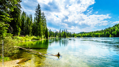 Canvas Prints Blue sky Clearwater Lake in Wells Gray Provincial Park, British Columbia, Canada . The lake is high up in the Cariboo Mountains and feeds the Clearwater River and then the Thompson River