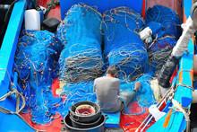 Fisherman Mending Nets At Gallipoli Italy