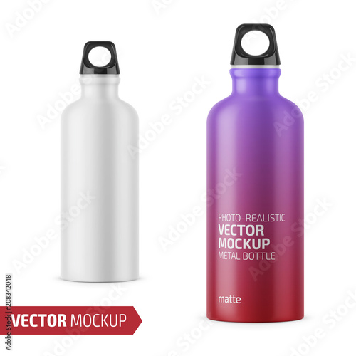 Cuadros en Lienzo White metal water bottle template.