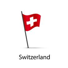 Switzerland Flag On Pole, Infographic Element On White